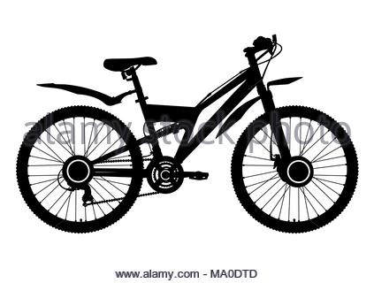423x320 Bicycle Vector Contour Drawing, Monochrome, Black And White Sketch