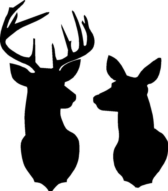 570x646 Buck And Doe Deer Silhouette Stencil Overall Size Approx 16