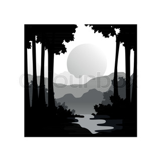320x320 Beautiful Nature Landscape With Silhouettes Of Forest Trees