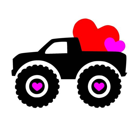 570x480 Hearts Truck Big Tires Svg Pdf Png Jpg Dxf Eps File
