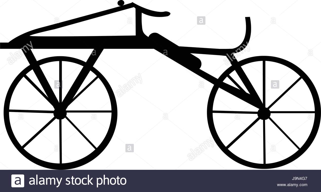 1300x778 A Dandy Horse Or Draisienne Old Bike Silhouette Isolated On White