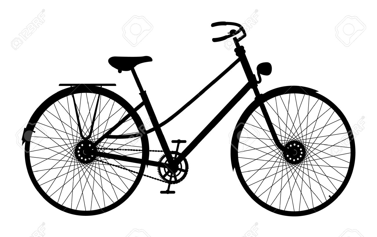 1300x816 Vintage Bike Silhouette Clipart Collection