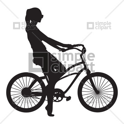 400x400 Silhouette Of Girl On Bike Vector Image