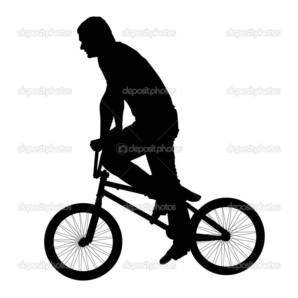 1024x1024 Black Silhouette Of A Young Man On A Bike Stock Vector