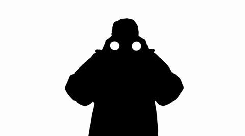 480x268 Guard Looks Through Binoculars Silhouette ~ Footage