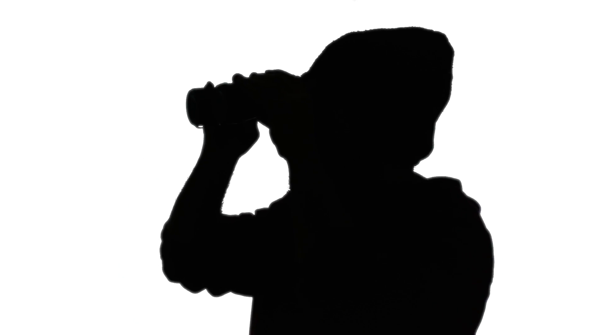 1920x1080 Silhouette Man Binoculars. A Man Looking Around Through A Pair