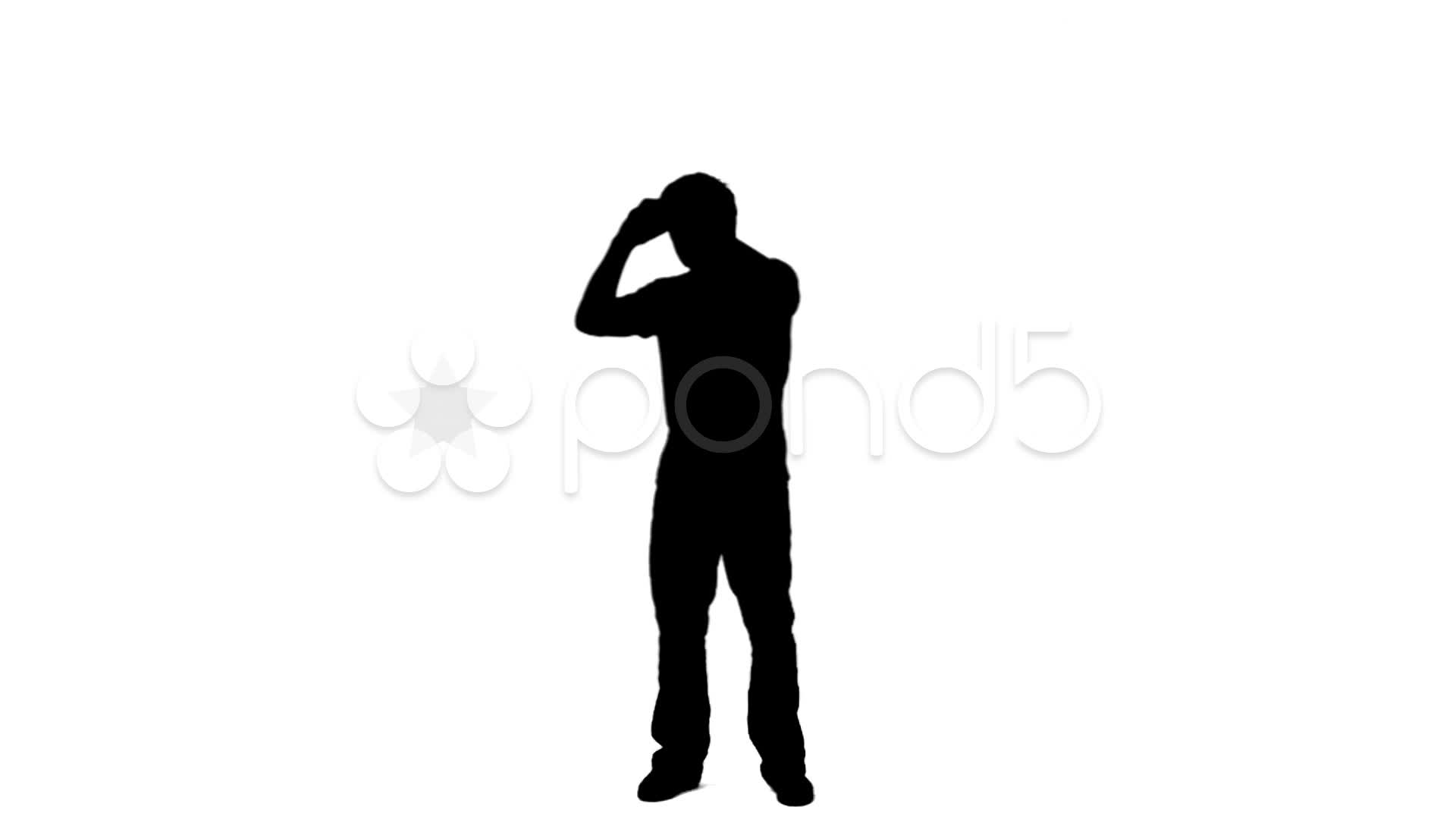 1920x1080 Silhouette Man Looking Through Binoculars ~ Footage
