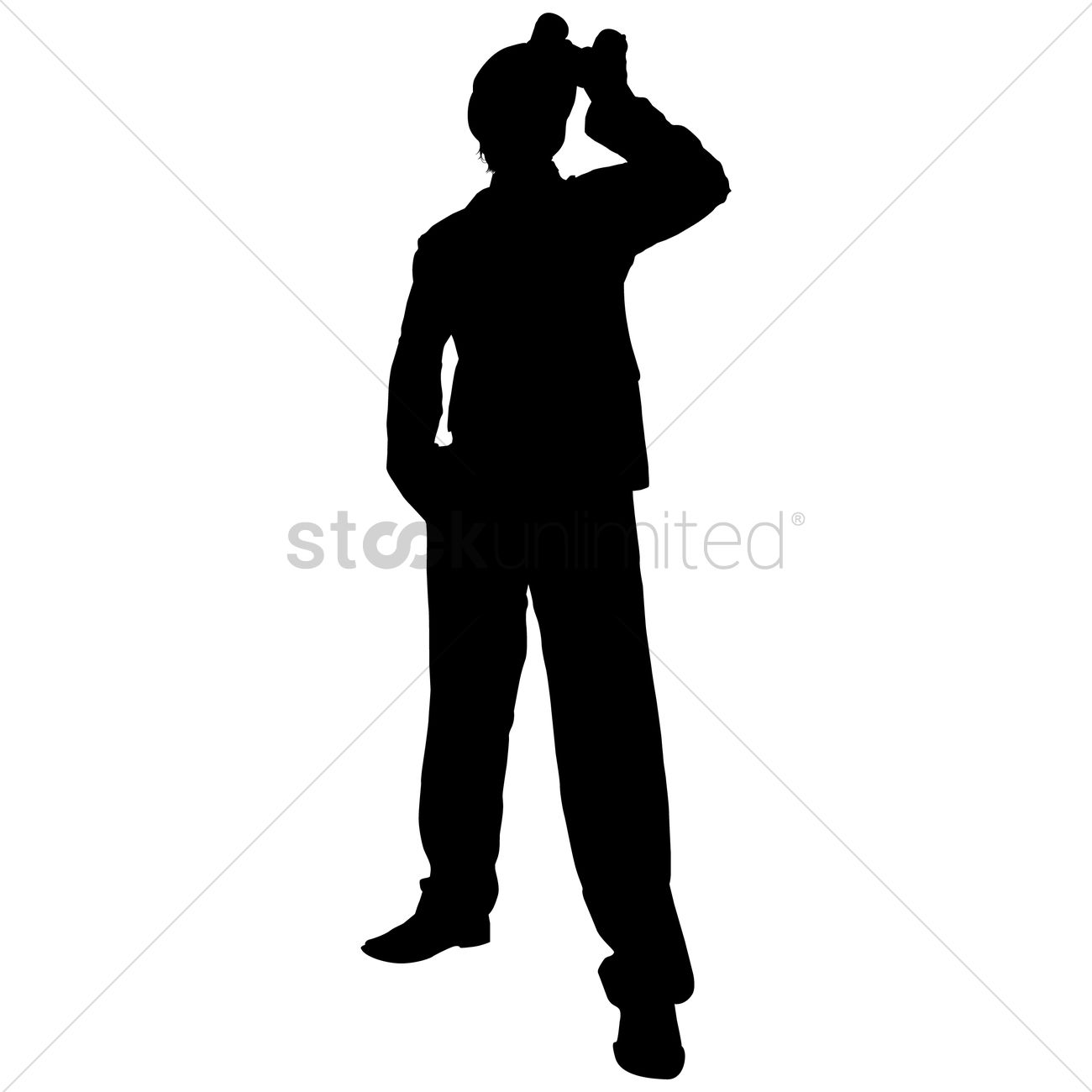 1300x1300 Silhouette Of A Man With Binoculars Vector Image