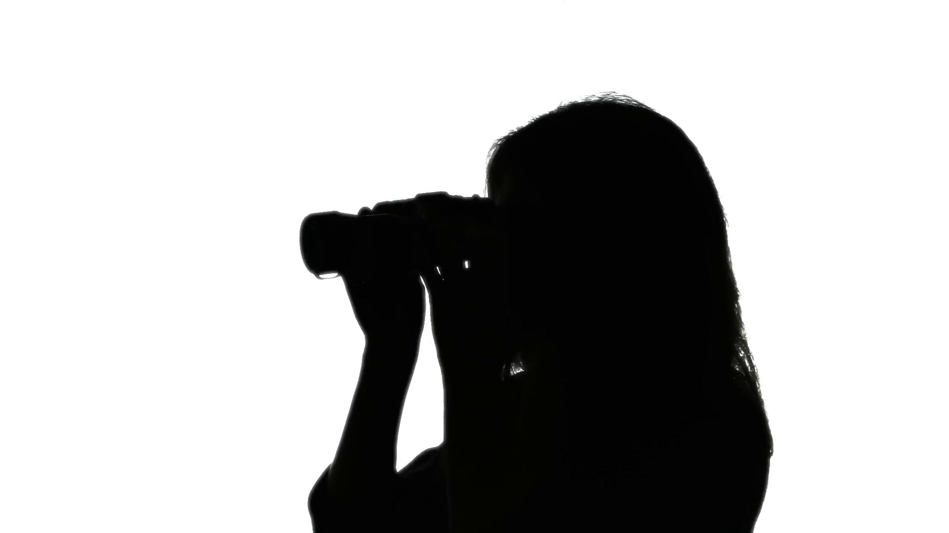 1920x1080 Silhouette Woman Binoculars 1. Woman Lookinground Through