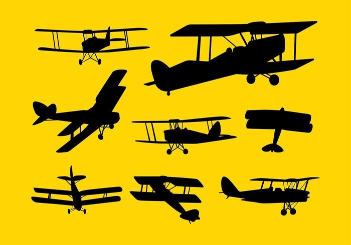 700x490 Biplane Silhouette Vector