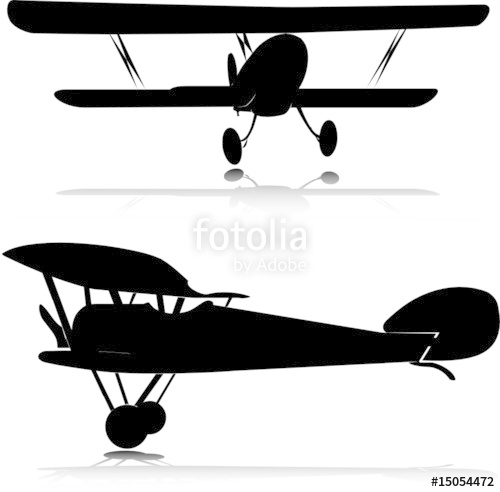 500x492 Biplane Vector Silhouettes Stock Image And Royalty Free Vector