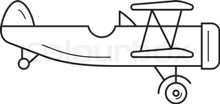 320x152 Silhouette Of Old Biplane Stock Vector Colourbox