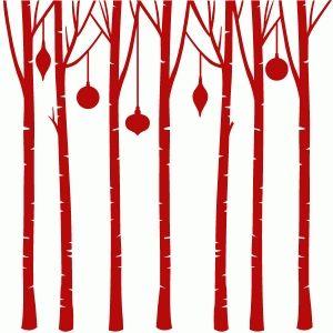 300x300 Birch Tree Circle Ornament Silhouette Design, Silhouettes