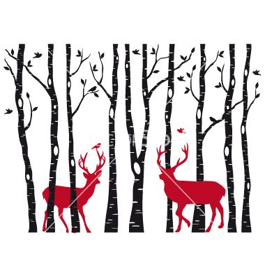 380x400 Birch Tree Forest With Deers Vector 1092822