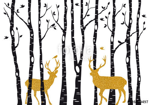 500x350 Birch Trees With Gold Christmas Reindeer, Vector Stock Image