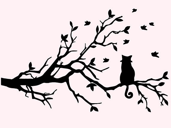 570x428 Cat Svg Clipart Cat On A Tree Svg Cat Silhouette Files Cat