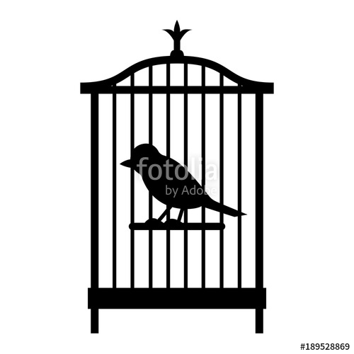 500x500 A Simple Bird In A Cage. Black And White Silhouette, Object