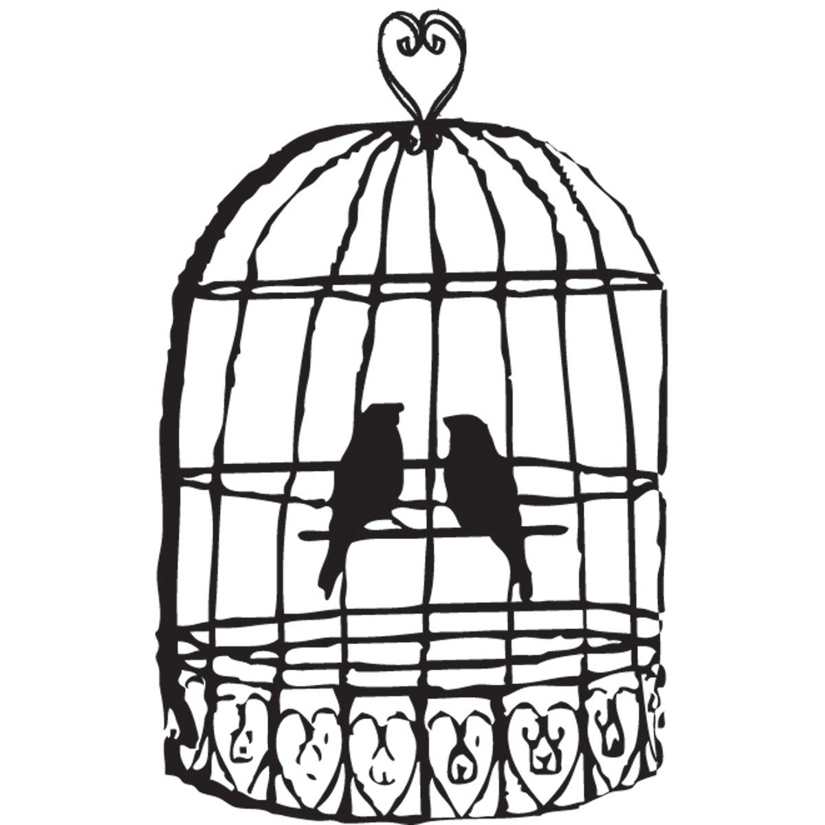 1200x1200 Black And White Clipart Birdcage Bird Cage Clip Art