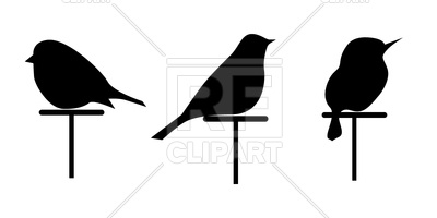 400x200 Silhouettes Of 3 Birds Royalty Free Vector Clip Art Image