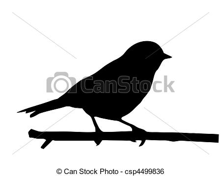 450x359 Vector Silhouette Of The Small Bird On Branch Clip Art Vector