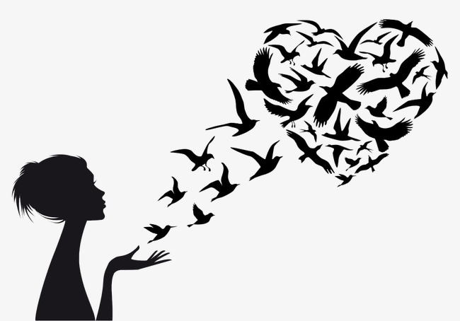 650x454 Silhouette Flying Birds, Girl, Sketch, Heart Shaped Png Image