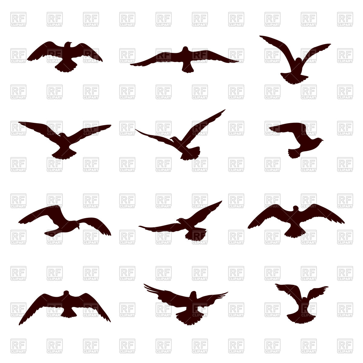 1200x1200 Bird Flying Silhouette Set Royalty Free Vector Clip Art Image