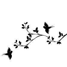 225x225 Blossom Branch With Birds Silhouette Printing Amp Artwork