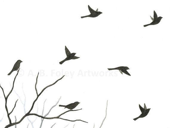 570x427 Original Watercolor Bird Painting Flying Birds By Abfoleyartworks