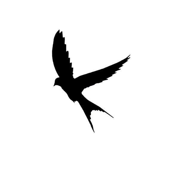 576x576 Silhouette Swallow In Flight Rubber Stamp Large Landing Bird