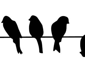 340x270 Birds On Wire Decals Etsy
