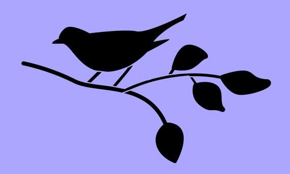 570x343 Stencil Bird On Branch Silhouette 8x4.8