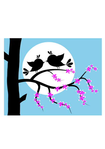 Bird On Branch Silhouette Clip Art