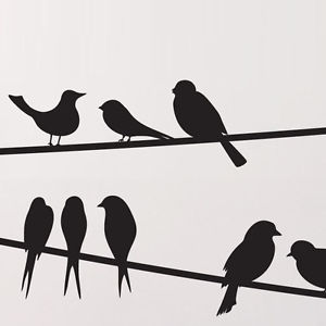 300x300 Bird On A Wire Wall Stickers Decals