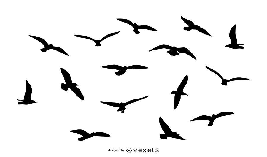 900x529 Birds Flying Silhouette Pack