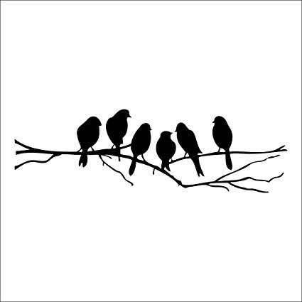 425x425 Wall Stickers Decal Removable Black Bird Tree Branch