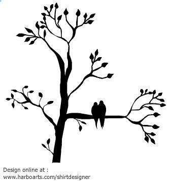 335x355 Silhouette Of Tree With Leaves With Two Birds Sitting On