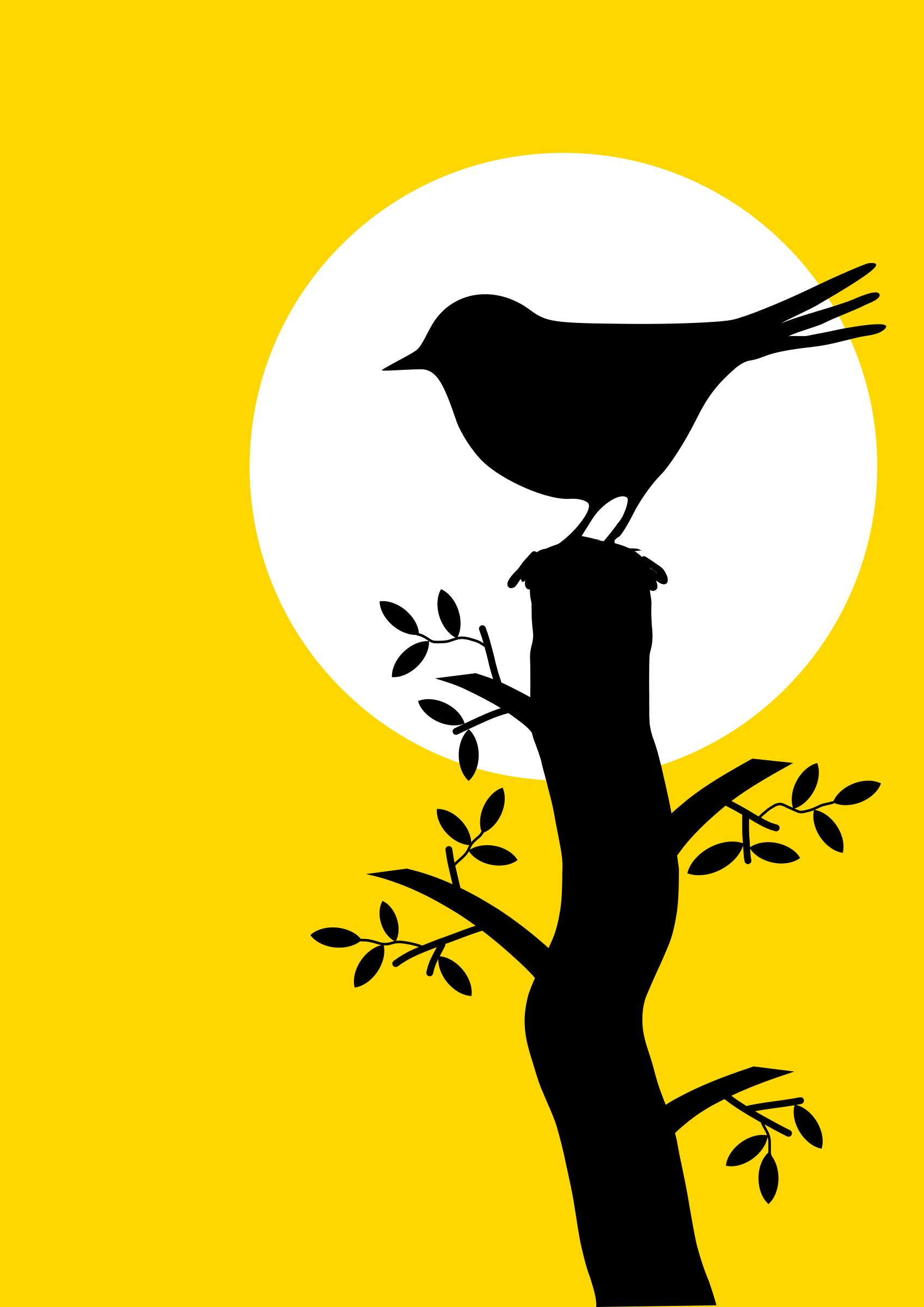 1697x2400 Silhouette With Bird And Tree Icons Png