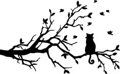 236x146 Vector Silhouettes Of Two Cats Twisting Tails In A Tree