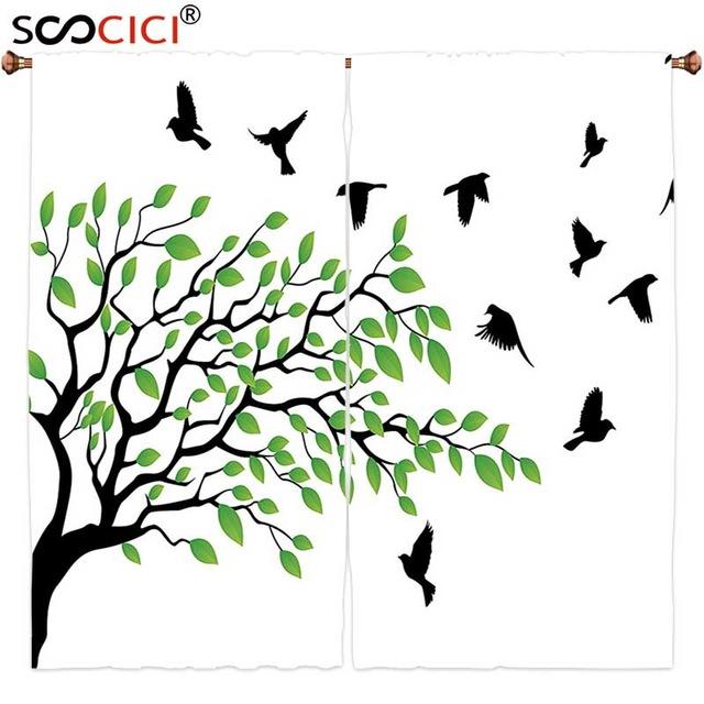 640x640 Window Curtains Treatments 2 Panels,flying Birds Decor Spring Tree