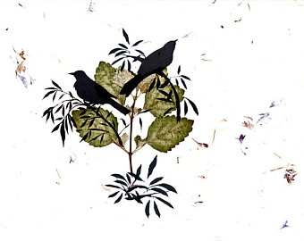 340x270 Whimsical Bird Art Print Sepia Pinecone Silhouette Woodland