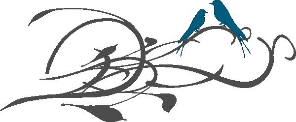 600x248 Love Birds On A Branch Clip Art