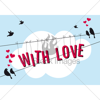 325x325 Birds Sitting On Wire, Vector Background Gl Stock Images