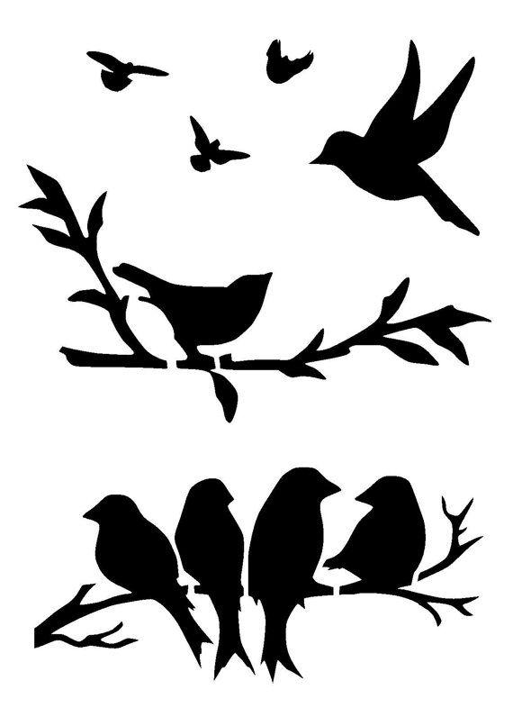 Birds On Branch Silhouette