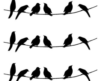 340x270 Birds On Wire Split Monogram Frame. Machine Embroidery Design