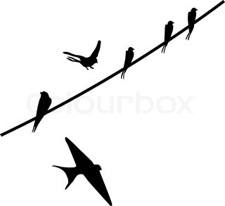 320x293 Vector Silhouette Of The Birds Of The Waxwings On Wire Stock