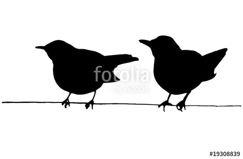 500x326 Two Birds On The Wire Vector Silhouettes Stock Image And Royalty