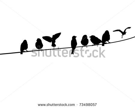 450x362 A Silhouette Of Birds On A Wire, Vector Illustration