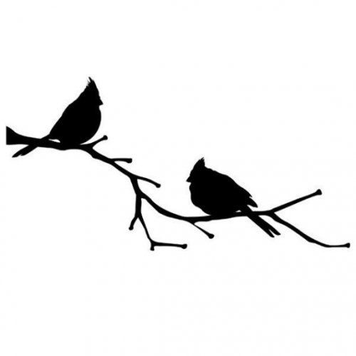 500x500 Family Of Cardinal Birds Perching For Winter Stencil, Wall Stencil