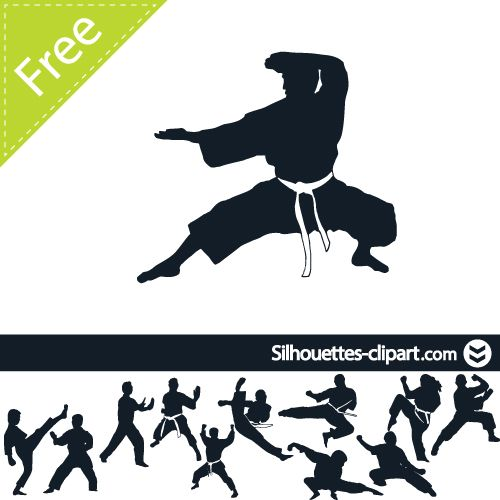500x500 Karate Vector Silhouette Silhouettes Silhouettes