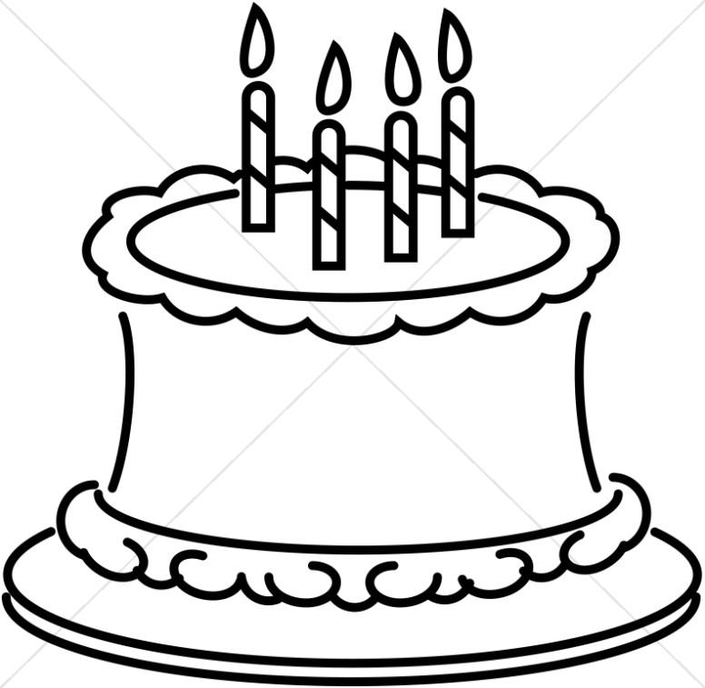 776x757 Birthday Clip Art Black And White Layered Cake